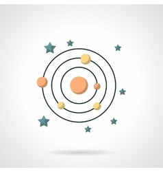 Symbols of solar system flat color icon vector