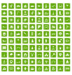 100 kindergarten icons set grunge green vector