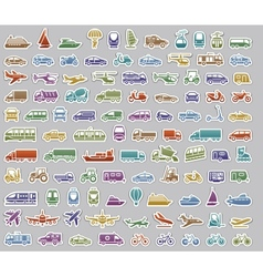 104 Transport icons set retro stickers vector