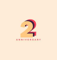 2 years anniversary template design vector