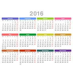 2016 year annual calendar Monday first English vector