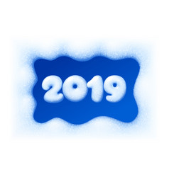 2019 new year on snow frosted background vector