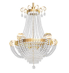 A chandelier with crystal pendants on a white vector