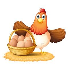 A hen and a basket egg vector