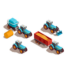 agricultural machines isometric composition vector image