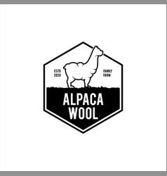 Alpaca wool logo simple badge vector