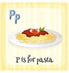 Alphabet p is for pasta vector