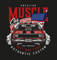 American custom car vintage label vector