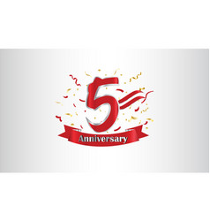 Anniversary celebration background with 5th vector