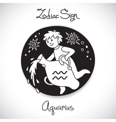 Aquarius zodiac sign of horoscope circle emblem in vector