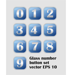 Artistic number set blue buttons with metallic vector