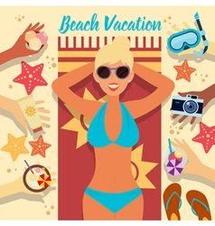 Beach Vacation Summer Time Woman on the Beach vector image