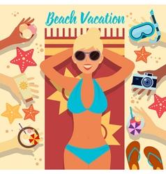 Beach Vacation Summer Time Woman on the Beach vector