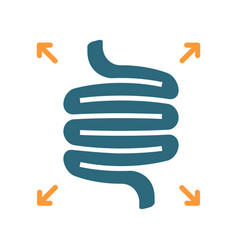 Bloated intestines colored icon diseases internal vector