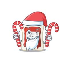 blood bag cartoon character in santa costume vector image
