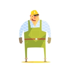 Builder In Hard Hat On Construction Site vector image