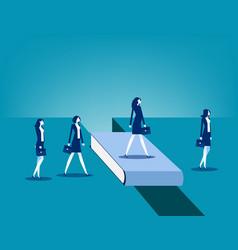 Business people bridging gap vector