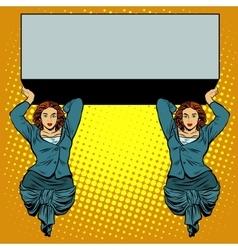 Businesswoman holding caryatids balcony billboard vector