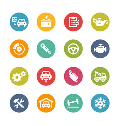 car service icons - fresh colors series vector image