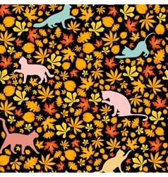 cats and autumn leaves seamless pattern vector image
