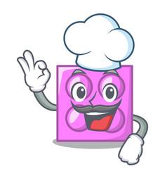 Chef toy brick character cartoon vector