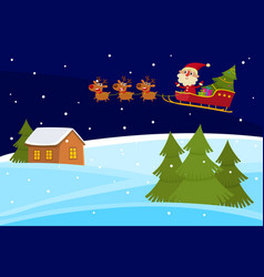 christmas banner of cute cartoon landscapes vector image