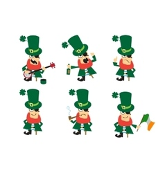 Collection of humor character for Saint Patricks vector image