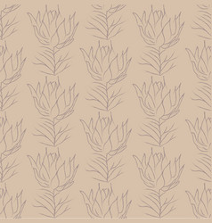 color line drawing floral seamless pattern vector image