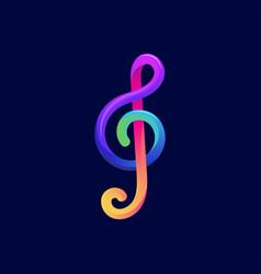 colorful music note symbol logo design vector image
