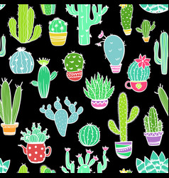 Colorful seamless pattern of cactus vector