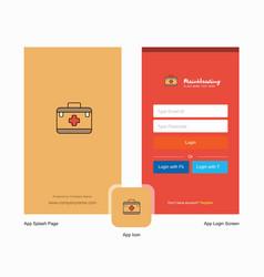 Company first aid box splash screen and login vector