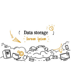 Computing cloud business data storage concept vector