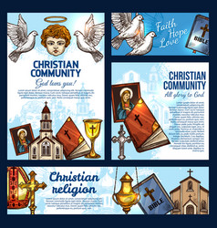 Cristian religion church bible and crucifix cross vector