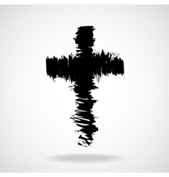 Cross painted brushes christian symbol abstract vector image