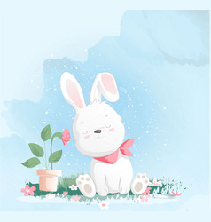Cute baby rabbit watercolor style for printing vector