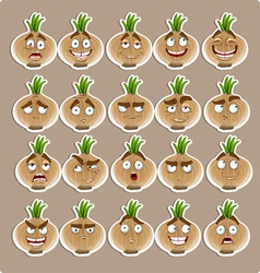 cute cartoon onion smile with many expressions vector image