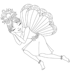 Cute fairy in dress is sleeping coloring book vector image