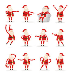 different santa s movements on white background vector image