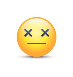 Dizzy emoji face cross eyes emoticon icon vector