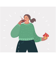 Fat woman with cake food on her hands vector