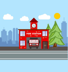 fire station building city landscape concept vector image
