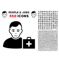 first-aid man icon with bonus vector image
