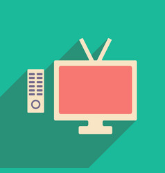 Flat with shadow icon and mobile applacation tv vector