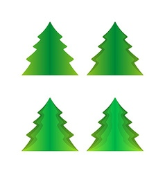 Four green trees vector