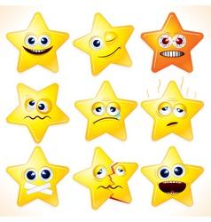 Funny cartoon stars emotions vector