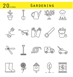 gardening line icons set vector image