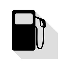 gas pump sign black icon with flat style shadow vector image