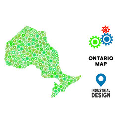 Gears ontario province map collage vector