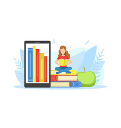 giant tablet screen tiny girl sitting on pile of vector image
