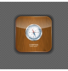 Glossy compass wood application icons vector